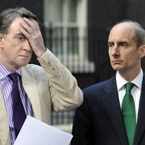 Lord Adonis (right) and Lord Mandelson have stepped down from the shadow cabinet