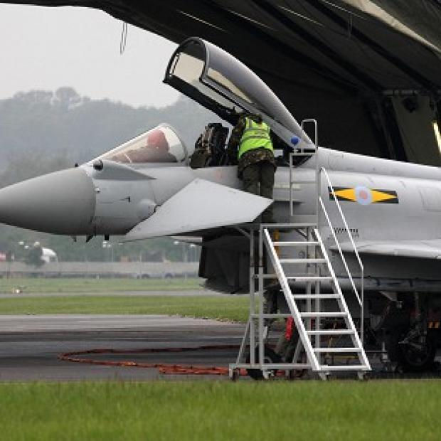 An RAF Typhoon at RAF Northolt in west London ahead of a major military exercise to test security for the Olympic Games