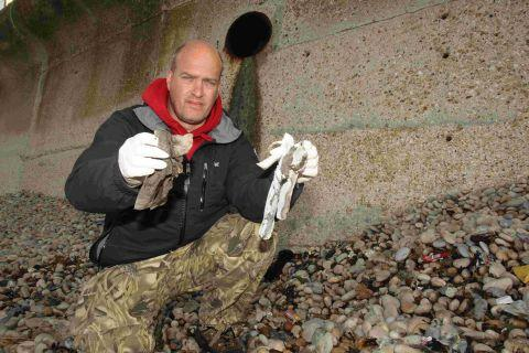DOING HIS BIT: Steve Trewhella at one of the beach cleans