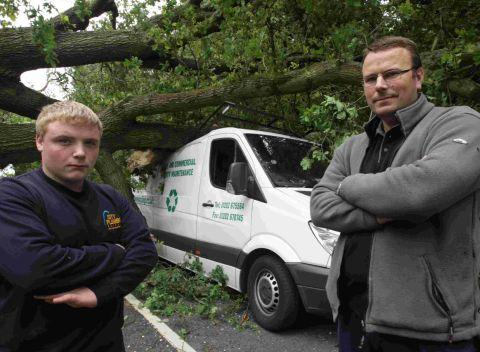 Billy Harwod and, right, Chris Lloyd who were in this van when a tree fell on to it