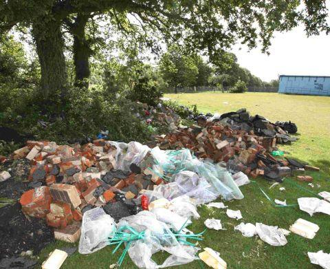 Rubbish left behind by travellers at Duck Lane playing fields in Bournemouth