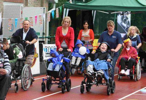 AMAZING DAY: Pupils at  Victoria Education centre take part in their  wheelchair Grand Prix