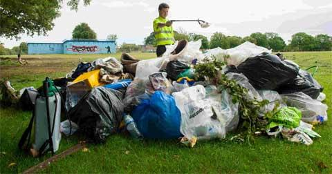 TRASHED: A field off Duck Lane, West Howe, is cleaned and tidied after being left by a traveller group