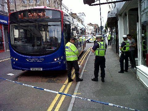 The scene at The Triangle, where a teenager and a bus collided. Picture by Stephen Bailey