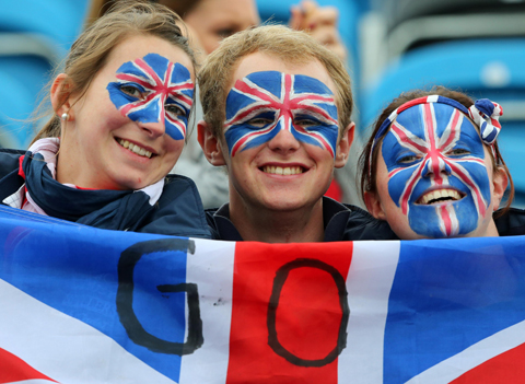 Great Britain fans waiting for the action to begin at Greenwich Park on day four of the equestrian competition