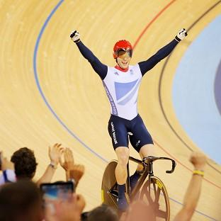 Great Britain's Jason Kenny celebrates winning the Gold Medal after winning the Men's Sprint Final Race 2