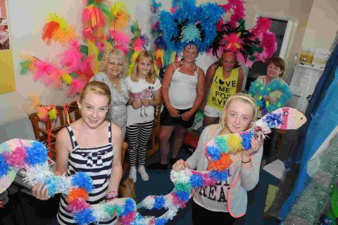 Charlotte Russell and Mia Haden with Jacki Ranner, Caila Kirkpatrick, Katie Hankey, Jessica Hankey and Erica Patterson who are building a float for Weymouth Carnival at Westham Community Group