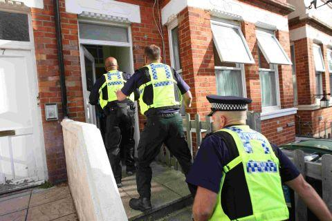 STASH: Dorset Police carry out a  drugs raid  on a property in Windsor Road, Boscombe