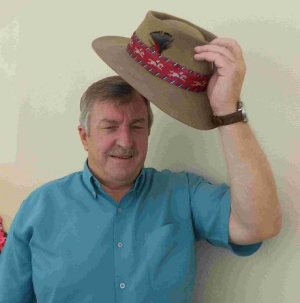 Roger Snook prepares for the 2012 Bridport Hat Festival with his 40-year-old Australian Acubra hat