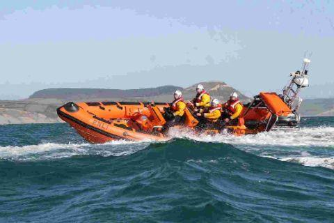SWEPT OUT TO SEA: Lyme's lifeboat has rescued swimmers swept out to sea on inflatables