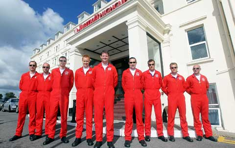 Red Arrows outside the Bournemouth Marriot Highcliff for the launch of the Bournemouth Air Festival 2012