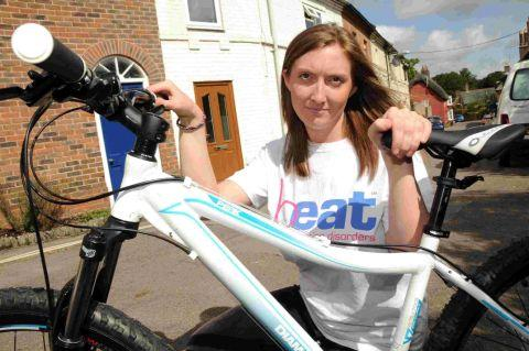 PEDAL POWER: Hannah Chislett who is doing a bike ride for Beat