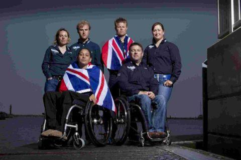 READY TO LAUNCH: Our Paralympian sailing team are in action from today. Back row, Helena Lucas, Niki Birrell, Steve Thomas and Hannah Stodel. Front row, Alexandra Rickman and John Robertson