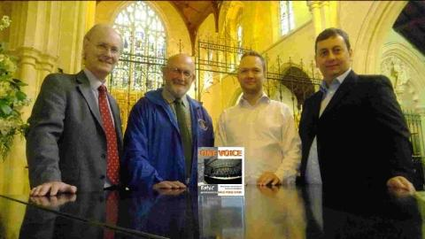 Simon Nightingale and Peter Thomas of Horsey Lightly Fynn with Mike Weaver and Mark Burstow of Bournemouth Male Voice Choir