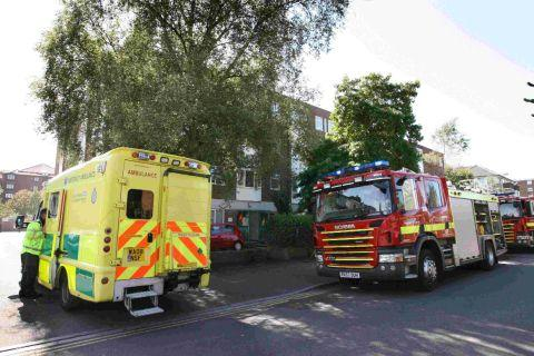 RESCUE: Emergency services at the scene of a fire in Stour Court, Princess Road, Poole where a resident was rescued from her flat
