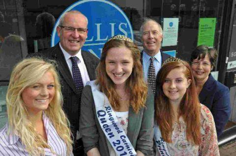 Proud sponsor: Nigel Smith, Ellis Jones managing partner, second left, with 2012 Carnival Queen Nancy Soloman, attendants Lizzie Treble, left, and Annie Hopper and Michael Lingam-Willgoss and Linda Card of Ringwood Carnival