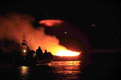 Probe launched into blaze on fishing boat