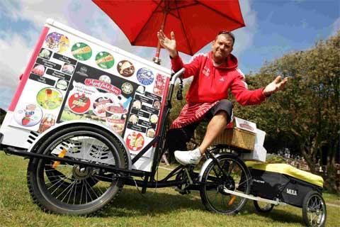 THAW: Ice-cream seller Julian Thompson, who has been banned from selling his ice-creams at West Cliff Green