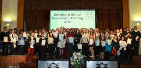 WELL DONE ALL: All the winners at the Beaminster School awards