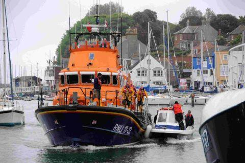 FOR EMERGENCIES ONLY: Weymouth Lifeboat towing a vessel into Weymouth harbour