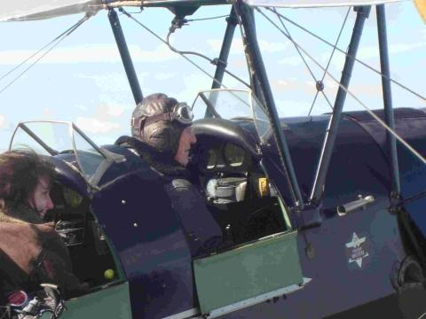 Stan celebrates 90th birthday with Tiger Moth flight