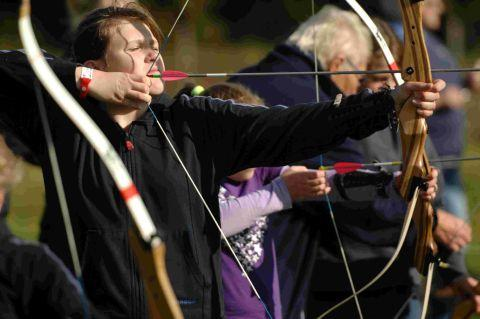 ALL A QUIVER: A First Bothenhampton Girlguide takes aim in archery practice