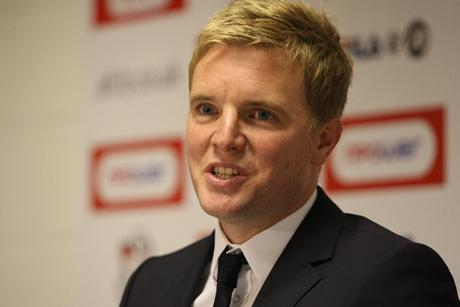 RETURNING HERO: Eddie Howe, pictured yesterday