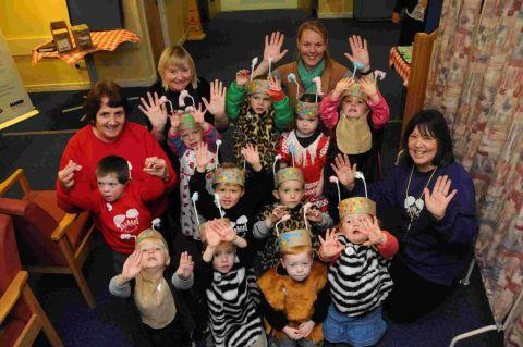 SHOW OF HANDS: Children and teachers from Grove Pre-School at Dorset County Hospital