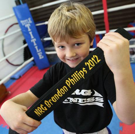 LITTLE BELTER: Brandon Phillips with his black belt