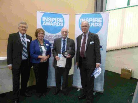 PRESENTATION: Diabetes UK South West Regional Manager Graham Cooper, UK Trustee Gill Fine, and UK President Richard Lane present Henry Bartlett with his Diabetes Voice award