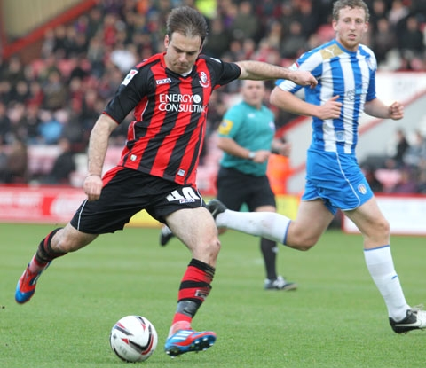 Brett Pitman for Cherries against Colchester