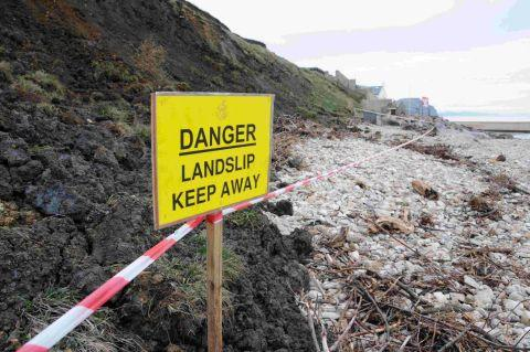 STAY AWAY:  A landslide on Charmouth Beach
