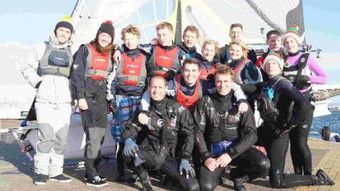 A group of outdoor education students from Weymouth College with Stuart and Alex
