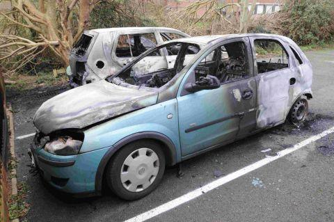 ARSON ATTACK: One of the recent car blazes at Littlemoor