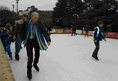 ICE ONE: Bournemouth Mayor Philip Stanley-Watts at the Christmas ice rink in the Lower Gardens