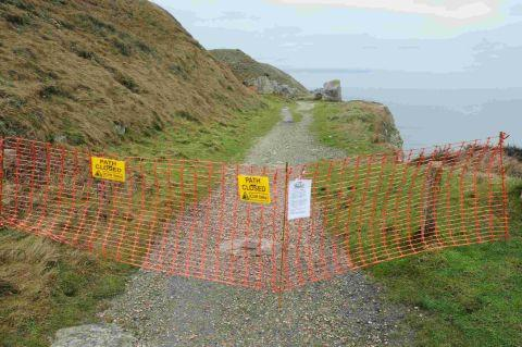 NO WAY: The South West Coast Path between Tout Quarry and Blacknor on Portland has been closed