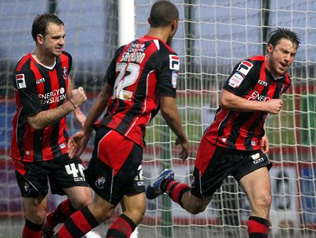 OPENER: Harry Arter celebrates his goal on Saturday