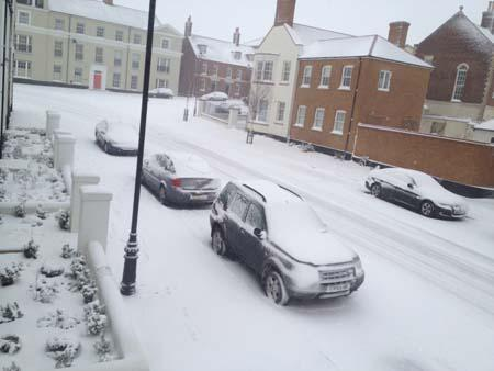 Poundbury under a blanket of snow