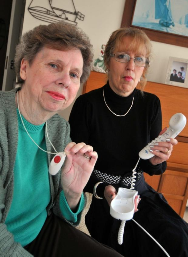 Phone problems for, from left, Jillian Hall and daughter-in-law Helen Toft