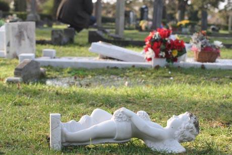 SHOCKING: Some of the graves targeted by vandals at Poole cemetery