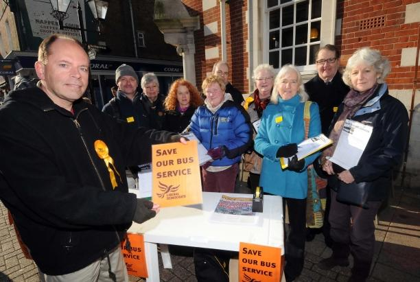 Lib Dems petition to save bus services in Dorchester
