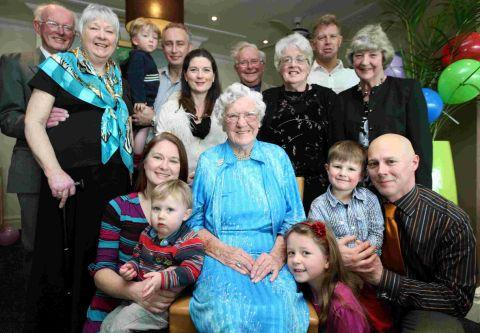 FAMILY AFFAIR: Dorothy Rule celebrates her 100th birthday with family at the Sandbanks Hotel