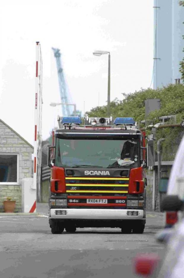 Firefighters on emergency drill in Dorset