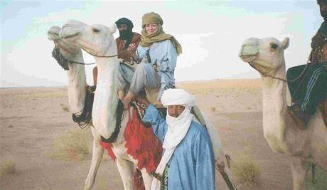 ALL ABOARD: Sarah Challis on a camel