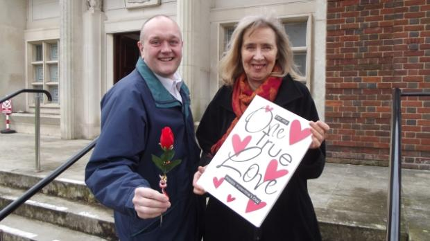 Lee Rhodes and Pamel Jefferies from Unison with their Valentine's Day card for councillors