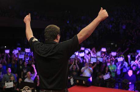 WELCOME: James Wade salutes the crowd at the BIC earlier tonight