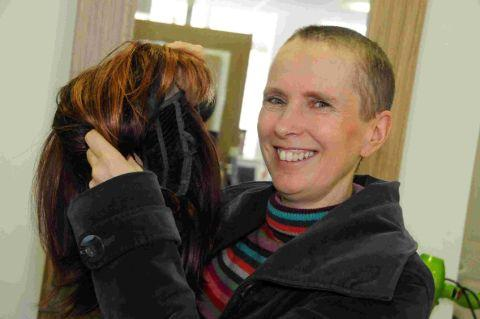 BUZZING: Liz Russell after her sponsored head shave