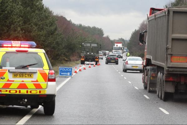 Military lorry causing long delays on A31