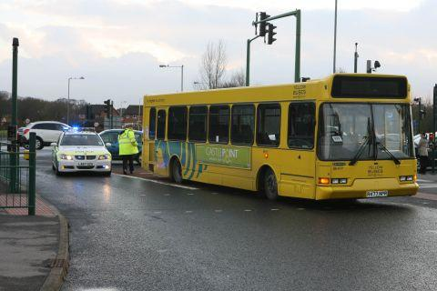 Yellow Bus in collision with pedestrian