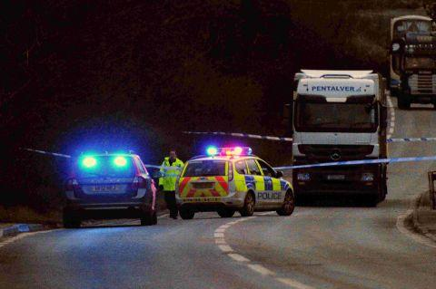 TRAGEDY: The scene of the collision on the A35 at Miles Cross, Bridport
